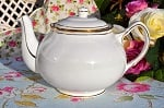 Duchess Ascot Vintage China White and Gold Teapot