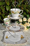 Chrysanthemum Mismatched Vintage 3 Tiered Cake Stand with Teacup Top