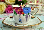 Art Deco Hand Painted Chapmans Candle in a Vintage Teacup