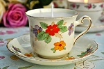 Tuscan Primroses Candle in a Hand Painted Vintage China Teacup