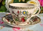 Johnson Bros. Indian Tree Pattern Vintage Teacup and Saucer c.1950s