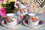 Aynsley Floral Small Cream Jug, Sugar Bowl and Two Coffee/Espresso Cans c.1920's