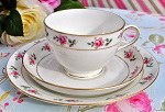 Antique Tuscan China Pink Roses Teacup, Saucer and Tea Plate Trio c.1900's - SOLD OUT