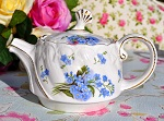 Blue Forget Me Not Pattern Small Fine Ceramic Two Cup Teapot