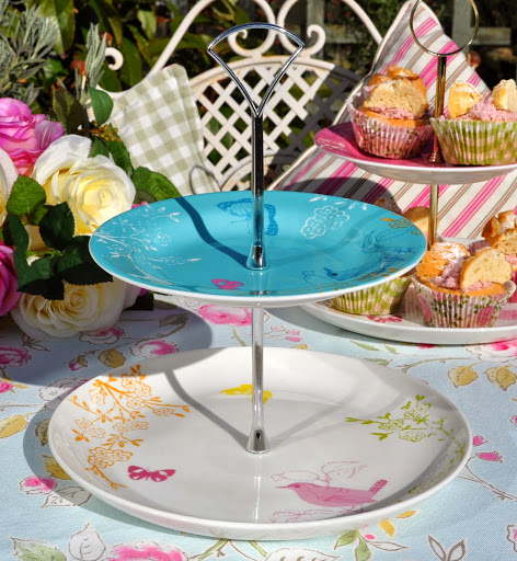Blue Birds and Butterfly New 2 Tiered Cake Stand