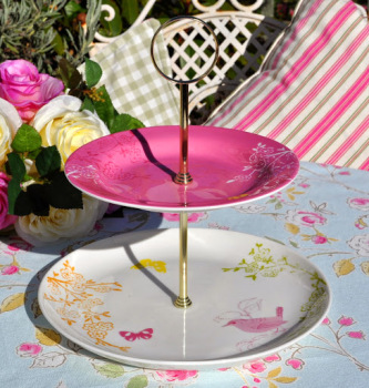 Pink Birds and Butterfly New Portmeirion Plates 2 Tier Cake Stand