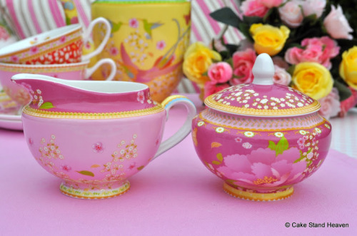 Gabrielle New Pink Floral Bone China Lidded Sugar Bowl and Milk Jug or Crea