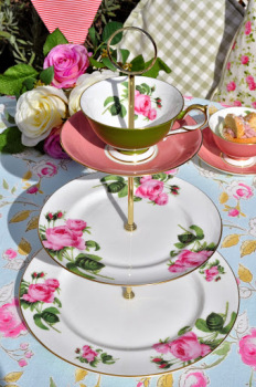 Aynsley English Rose 3 Tiered Cake Stand with Apple Green Teacup Top
