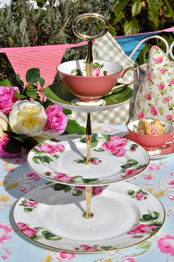 English Rose New Fine China 3 Tiered Cake Stand with Salmon Pink Teacup Top
