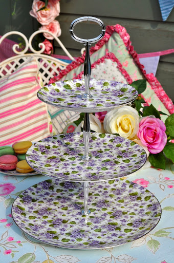 Chintz Violets New Bone China 3 Tier Cake Stand