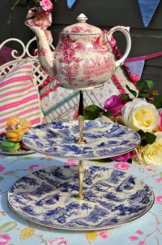 Toile de Jouy Tea Party Cake Stand with Mini Teapot Top