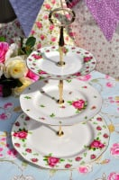 Royal Albert New Country Roses Gold Gilded 3 Tier Cake Stand