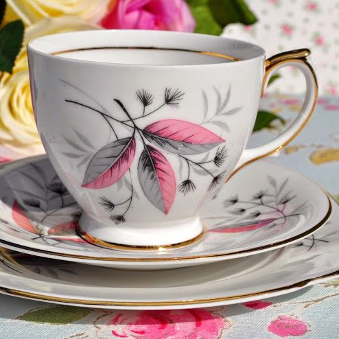 Windsor China Pink and Grey Teacup Trio c.1960's