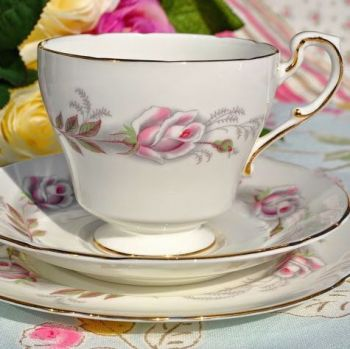 Paragon Pale Pink Rose Vintage China Teacup, Saucer and Tea Plate Trio