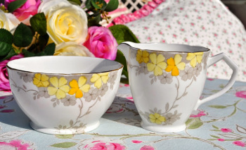 Wellington China Primroses Milk Jug and Sugar Bowl c.1930's