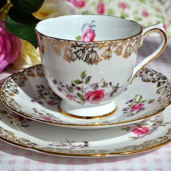 Collingwood China Gold and Pink Rose Teacup, Saucer and Tea Plate Trio