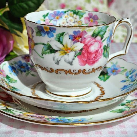 Crown Staffordshire Vintage Floral China Teacup, Saucer, Tea Plate Trio