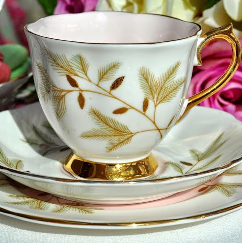 Royal Albert Braemar Pink and Gold Vintage China Teacup Trio