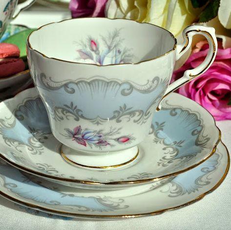Paragon Concerto Vintage China Pale Blue and Pink Roses Teacup Trio c.1957+
