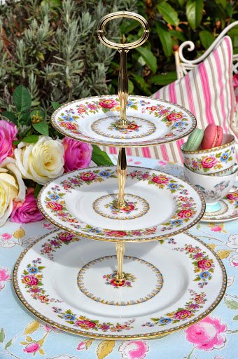 Royal Grafton Malvern Vintage China Floral Three-Tiered Cake Stand