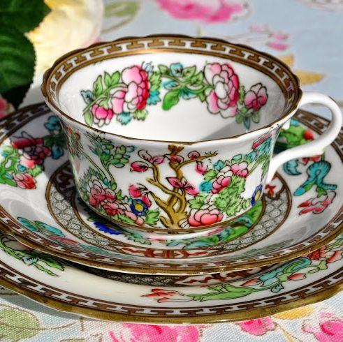 Coalport Antique Indian Tree Teacup, Saucer and Tea Plate Trio c.1891-1919