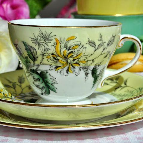 Royal Grafton Yellow Chrysanthemum Vintage Teacup Trio c.1957+