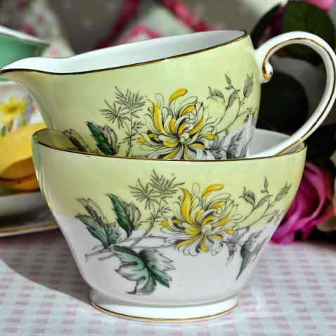 Royal Grafton Yellow Chrysanthemum Vintage Milk Jug and Sugar Bowl c.1957+