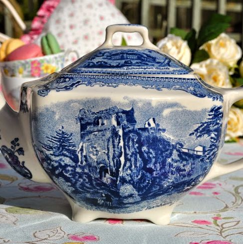 Johnson Bros. Blue and White Square 1.5 Pint Teapot