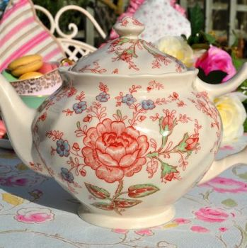 Johnson Bros. Rose Chintz Large 2 Pint Teapot
