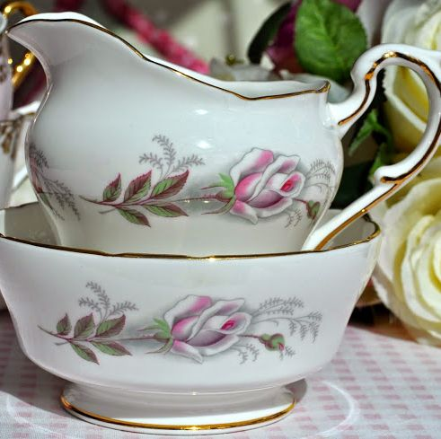 Paragon Pale Pink Rose Vintage China Milk Jug and Sugar Bowl