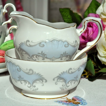 Paragon Concerto Vintage China Pale Blue and Pink Roses Milk Jug and Sugar Bowl c.1957+