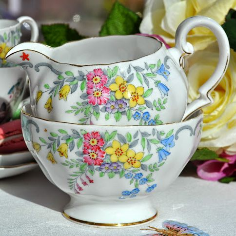 Grosvenor China Cottage Garden Milk Jug and Sugar Bowl c.1930+