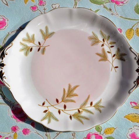 Royal Albert Braemar Pink and Gold Vintage China Cake or Bread Plate