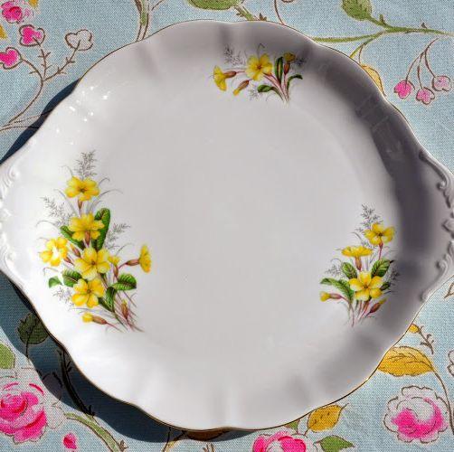 Royal Albert Vintage Yellow Primrose Cake or Bread Plate c.1945+