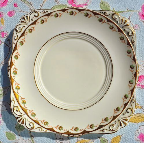 Grafton Fine China Cream, Gold and Green Flowers Vintage Cake Plate c.1930s