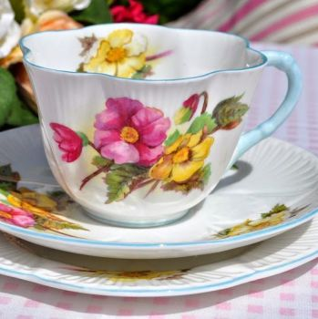 Shelley Begonia Vintage Fine Bone China Teacup, Saucer and Tea Plate Trio