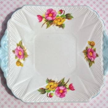 Shelley Begonia Vintage Fine Bone China Cake Plate with Pale Blue Trim