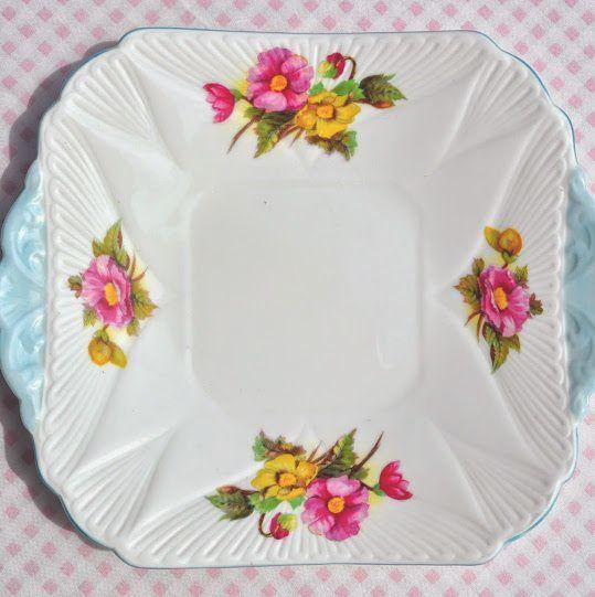 Shelley Begonia Vintage Fine Bone China Cake Plate with Pale Blue Trim