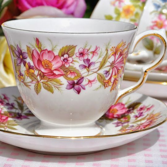 Colclough Wayside Vintage English Bone China Teacup and Saucer