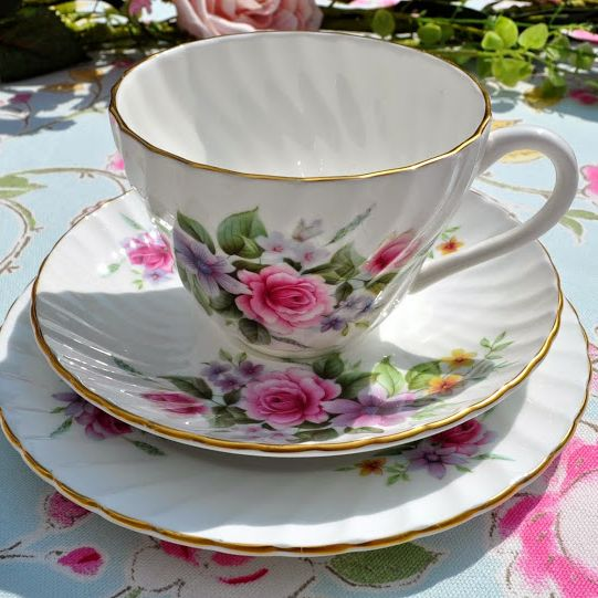 Crown Staffordshire Vintage Fine China Floral Bouquet Teacup Trio