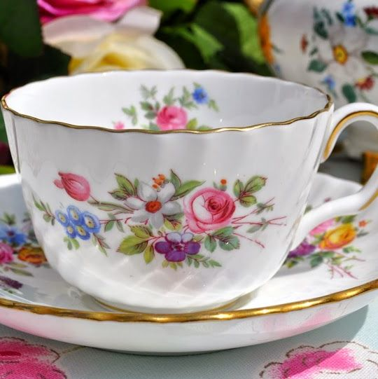 Minton Marlow Floral English Vintage Bone China Teacup and Saucer c.1950's