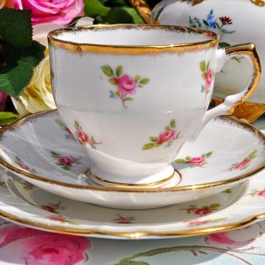 Salisbury Ditsy Pink Roses Vintage China Teacup Trio c.1930's