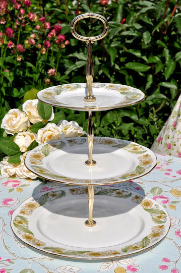 Duchess Greensleeves English Vintage Bone China 3 Tier Cake Stand