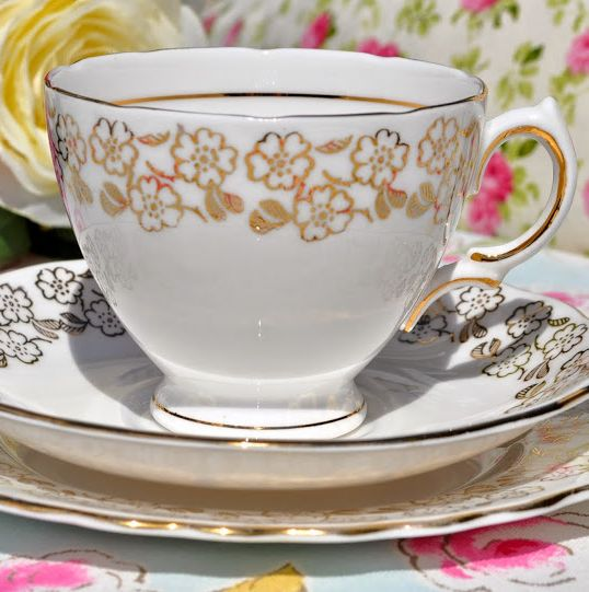 Royal Vale Gold Leaf Flower Pattern Vintage Teacup Trio