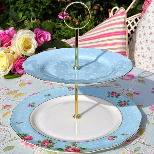 Polka Dot Blue and Pink Roses New Royal Albert Plates 2 Tier Cake Stand