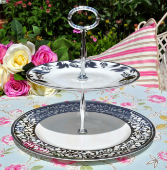 Martha Stewart Wedgwood Silver Lily of the Valley Plates Two-Tiered Cake Stand