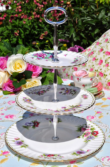 Royal Albert Eclectic Flower of the Month Series 3 Tier Cake Stand Lilac an