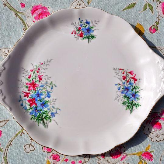 Royal Albert Friendship Series Larkspur Vintage Bone China Cake Plate