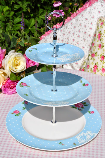 Royal Albert Polka Dot Blue and Pink Roses Bone China 3 Tier Cake Stand
