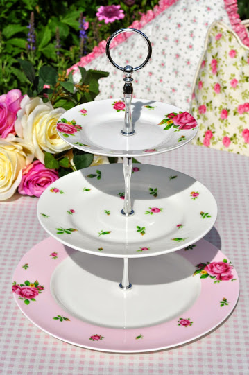 Royal Albert Pink Roses Bone China Plates 3 Tier Cake Stand